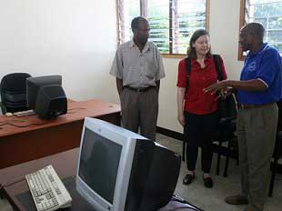 Ms. U. Schoch inspecting the site, left Mr. L. Mtalo, right Mr. A. Ndosi